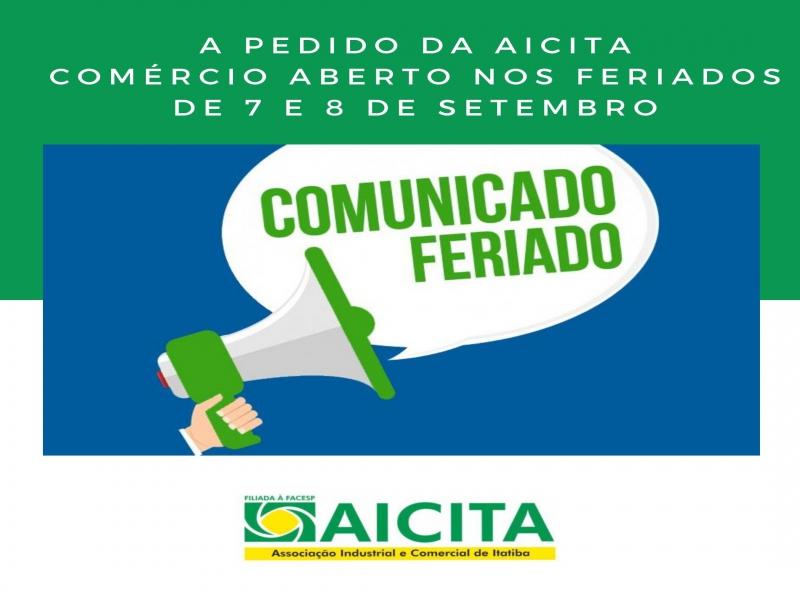 A pedido da Aicita, comércio poderá abrir nos feriados de 7 e 8 de setembro